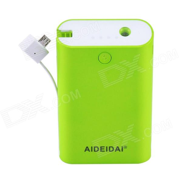 "AIDEIDAI P5022 External ""8400mAh"" USB Port 18650 Battery Mobile Power Bank w/ LED - Green"