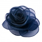 EQute Elegant Fashionable Solid Rose Flower Headdress Hair Clips / Corsage - Dark Navy