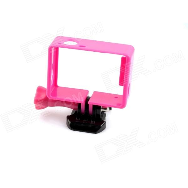 PANNOVO G-549P Protective Side Frame w/ Screws + Push Buckle for GoPro Hero 3 / 3+ - Deep Pink