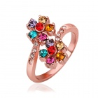 Women's Fashionable Flower Style Rhinestone Studded Ring - Rose Gold + Multi-colored (US Size: 8)