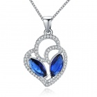 Women's Fashionable Heart Style Rhinestone Studded Pendant Necklace + Ring Set - Blue + Silver