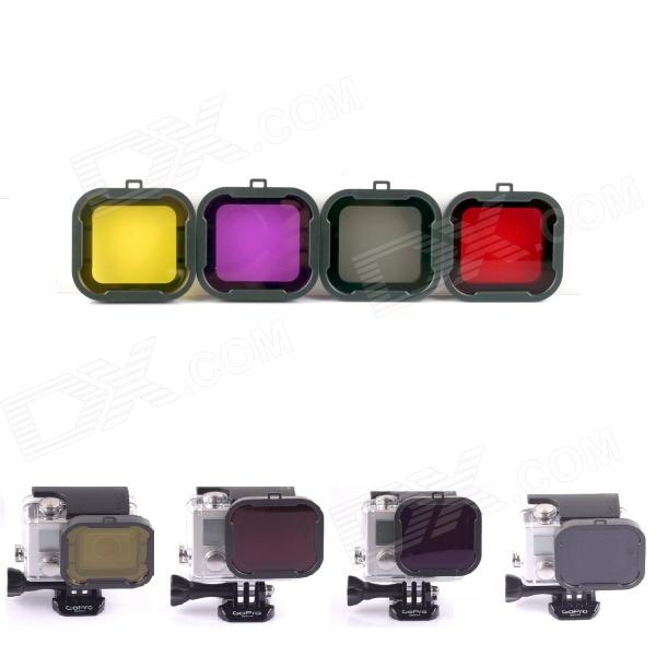 Professional 3-in-1 Underwater Color-Correction Dive Filter Diving Lens Kit for GoPro Hero3+