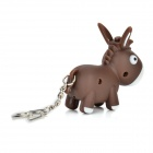 Cartoon Donkey Shaped Light & Sound White LED Keychain - Brown + White (3 x AG10)