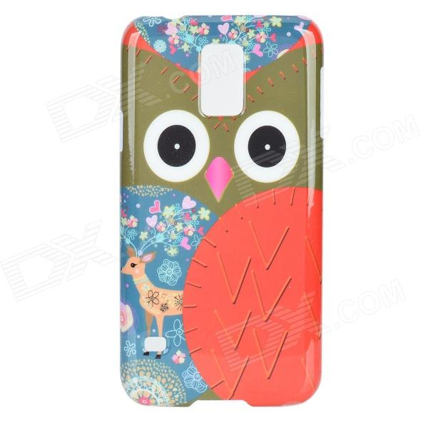 Cute Owl Pattern Protective Plastic Back Case for Samsung Galaxy S5 - White + Red + Multi-Color protective cute spots pattern back case for samsung galaxy s4 i9500 multicolored