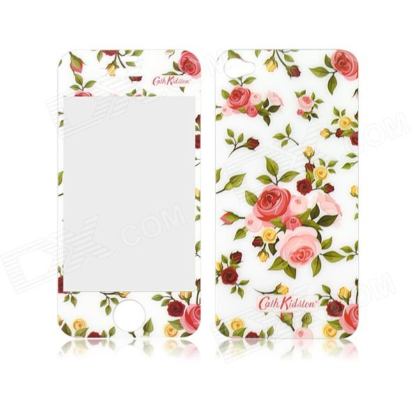 Pastoral Scenery Camellia Pattern Front + Back Tempered Glass Screen Protector for IPHONE 4/4S
