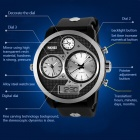 SKMEI 50m Waterproof Three Movement Men's Electronic Watches - Black + Mirror Silver