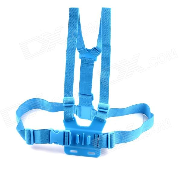 PANNOVO G-578B Adjustable Elastic Chest Strap Mount for Gopro Hero 4/2 / Hero3 / 3+ / SJ4000 - Blue gopro accessories head belt strap mount adjustable elastic for gopro hero 4 3 2 1 sjcam xiaomi yi camera vp202 free shipping