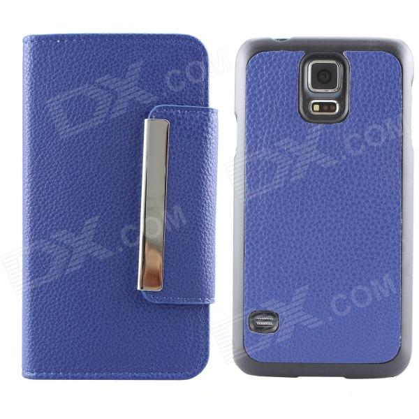 Protective Flip Open PU + PC Case w/ Card Slots for Samsung Galaxy S5 - Blue heart pattern pu tpu protective flip open case for samsung galaxy s5 mini blue