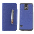 Protective Flip Open PU + PC Case w/ Card Slots for Samsung Galaxy S5 - Blue