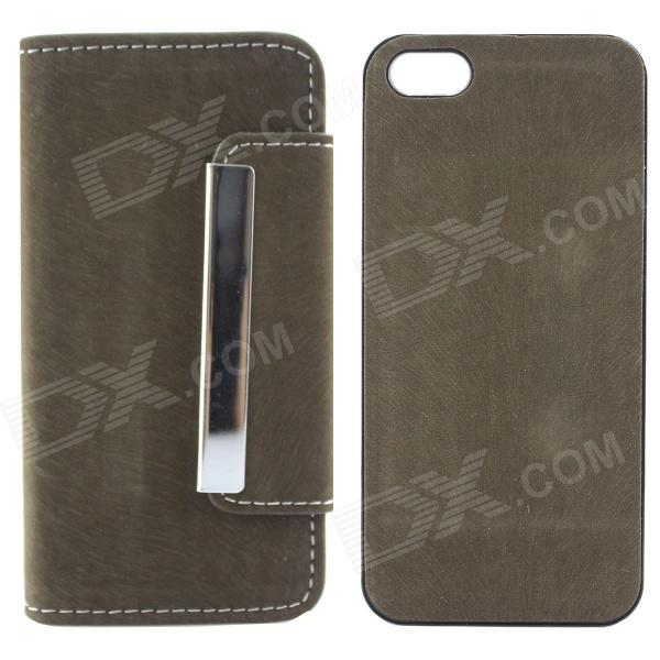 High Quality Wallet Style PU + PC Flip Open Case w/ Card Slots for IPHONE 5 / 5S - Army Green high quality business flip open pu pc case w card slots for 5 5 iphone 6 plus brown