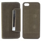 High Quality Wallet Style PU + PC Flip Open Case w/ Card Slots for IPHONE 5 / 5S - Army Green