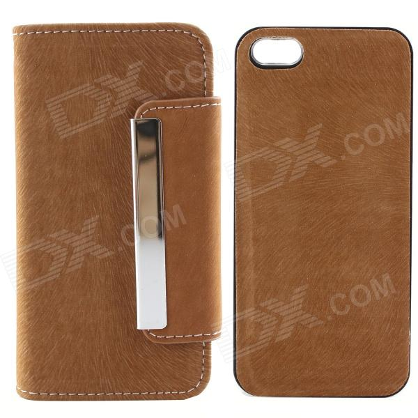 High Quality PU Leather + PC Wallet Style Flip Open Case w/ Card Slots for IPHONE 5 / 5S - Claybank high quality business flip open pu pc case w card slots for 5 5 iphone 6 plus brown