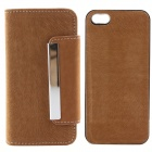 High Quality PU Leather + PC Wallet Style Flip Open Case w/ Card Slots for IPHONE 5 / 5S - Claybank