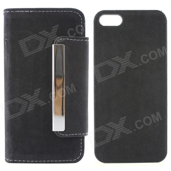 High Quality PU Leather + PC Wallet Style Flip Open Case w/ Card Slots for IPHONE 5 / 5S - Black high quality business flip open pu pc case w card slots for 5 5 iphone 6 plus brown