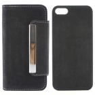 High Quality PU Leather + PC Wallet Style Flip Open Case w/ Card Slots for IPHONE 5 / 5S - Black