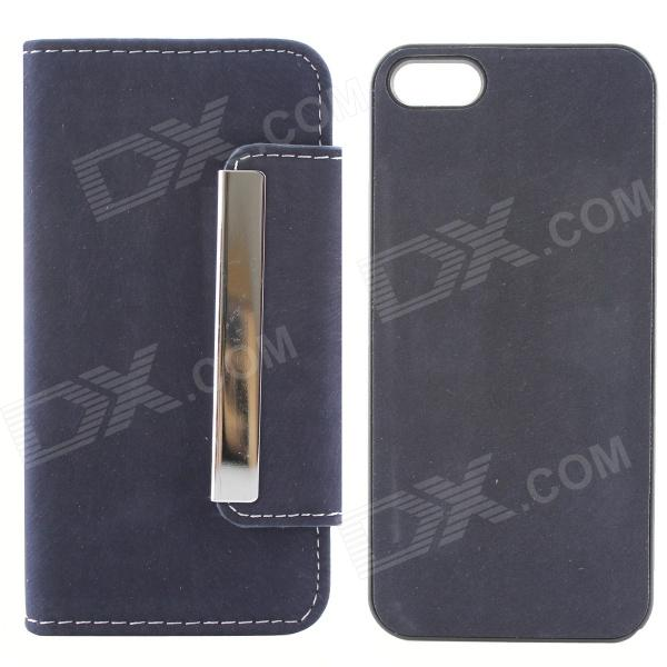 High Quality PU Leather + PC Wallet Style Flip Open Case w/ Card Slots for IPHONE 5 / 5S - Deep Blue high quality business flip open pu pc case w card slots for 5 5 iphone 6 plus brown