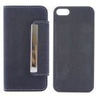 High Quality PU Leather + PC Wallet Style Flip Open Case w/ Card Slots for IPHONE 5 / 5S - Deep Blue
