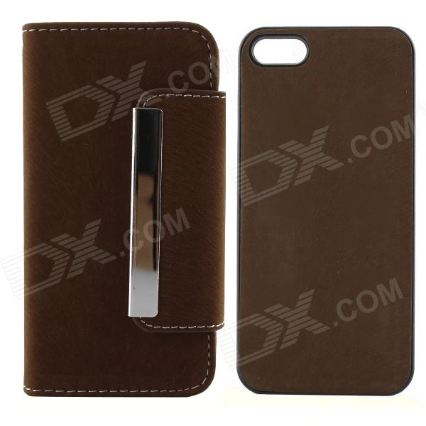 PU Leather + PC Wallet Style Flip Open Case w/ Card Slots for IPHONE 5 / 5S - Deep Brown high quality business flip open pu pc case w card slots for 5 5 iphone 6 plus brown