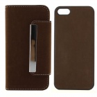 PU Leather + PC Wallet Style Flip Open Case w/ Card Slots for IPHONE 5 / 5S - Deep Brown