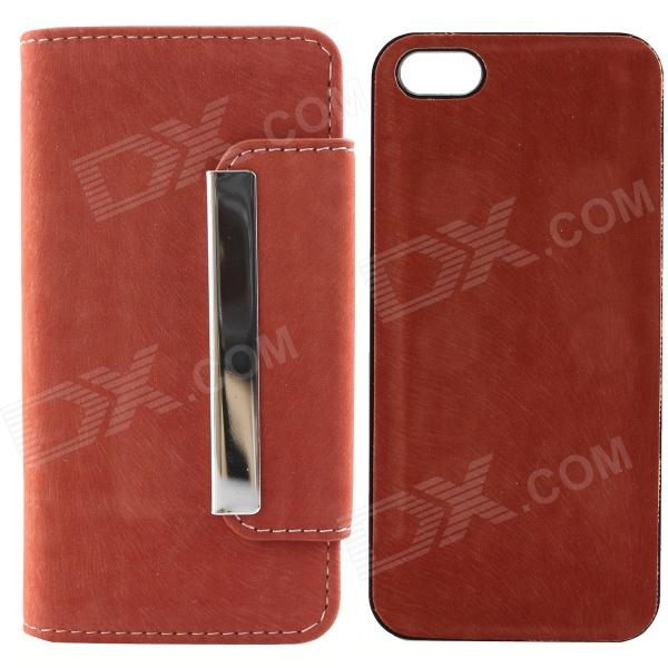 High Quality PU Leather + PC Wallet Style Flip Open Case w/ Card Slots for IPHONE 5 / 5S - Red high quality business flip open pu pc case w card slots for 5 5 iphone 6 plus brown