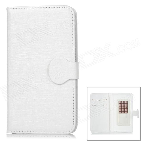 Protective Flip Open PU Leather Case w/ Card Slots for 5.3'' Mobile Phone  - White protective flip open pu case w stand card slots for samsung galaxy s4 active i9295 black