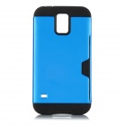 Protective TPU + PC Case w/ Card Slot for Samsung Galaxy S5 - Blue + Black