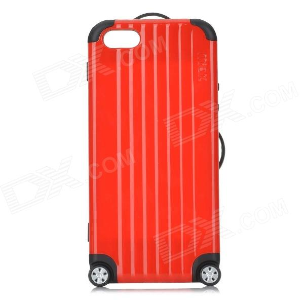 Miak Suitcase Style Protective PC + TPU Case w/ Stickers + NFC for IPHONE 5 / 5S - Red + Black protective pc tpu back case for iphone 5 w anti dust cover black yellow