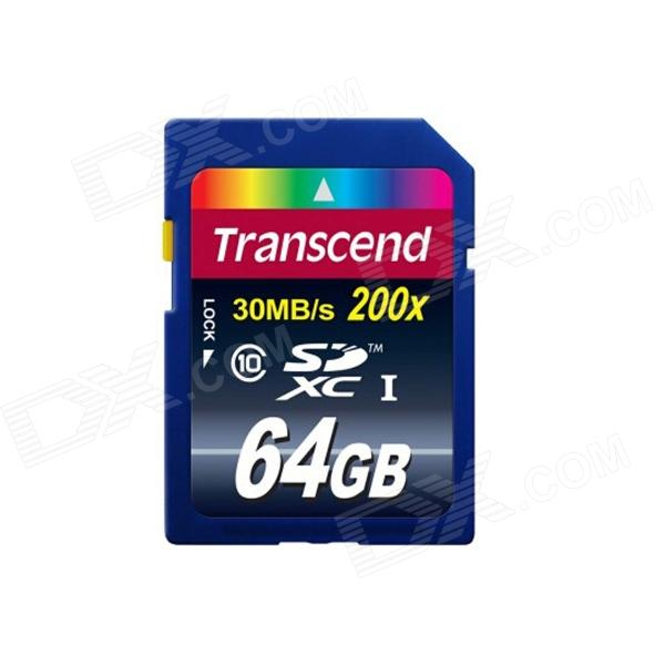 Transcend SDXC Memory Card - Deep Blue (64GB / Class 10) sandisk ultra 64gb class 10 30mb s read speed sd sdhc memory card