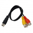 Jiahui 9pin S-Video Male to 3-RCA Female Adapter Cable - Black  + Multicolored (30cm)