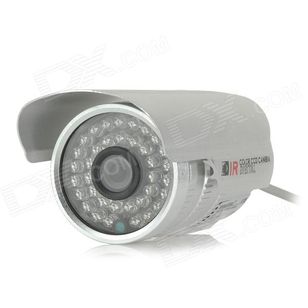 DOUBLEEAGL L1589 Water-resistant 1/3 CCD 800TVL Digital CCTV Camera w/ 36-IR-LED - Silver - DXCCTV Cameras<br>Color Silver Brand DOUBLEEAGL Model L1589 Material Aluminum alloy Quantity 1 Piece Image Sensor CCD Image Sensor Size Others1/3 inch Pixels 800TVL Picture Resolution 628 (H) x 520 (V) Lens 3.6mm Viewing Angle 90 ° Daytime 30 meters Minimum Illumination 0.01 Lux Electronic Shutter Speed 1/50(1/60)~1/100000s Night Vision Yes IR-LED Quantity 36 Nigt Vision Distance Within 30 m SNR 48dB Water-proof Yes Bracket no Power Adaptor no Plug Specifications No Rate Voltage DC 12V Packing List 1 x CCTV camera (41cm-cable) 1 x English manual<br>