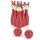 Smily Animal Shaped Wooden Bowling Bowls Set Toy - Red + Black