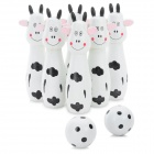 Smily Animal Shaped Wooden Bowling Bowls Set Toy - Black + White