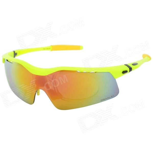 OBAOLAY SP0875 PC Frame Resin Lens UV400 Protection Sports Cycling Sunglasses Goggles - Yellow uv400 protection pc lens resin frame sunglasses goggles set silver frame