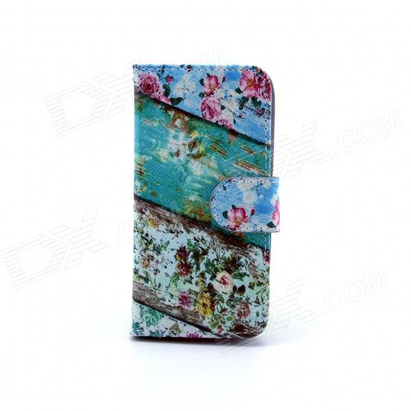 Flower Pattern Flip-open PU Leather Case w/ Stand / Card Slots for IPHONE 5 / 5S - Multi-Color new style pu leather flower pattern