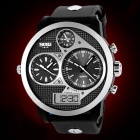 SKMEI Men's 50m Waterproof Three Movement Electronic Watches - Black + Mirror Silver