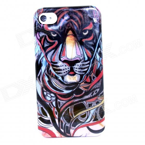 Fierce Tiger Pattern Protective Plastic Back Case for IPHONE 4 / 4S - Multi-Color fierce tiger pattern protective plastic back case for iphone 4 4s multi color