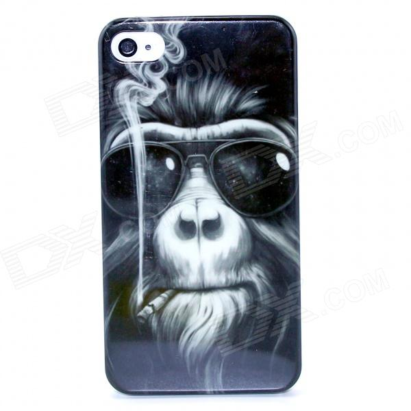 Smoking Monkey Pattern Protective Plastic Back Case for IPHONE 4 / 4S - Black + Multi-Color water drops style protective plastic back case for iphone 4 blue