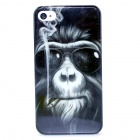 Smoking Monkey Pattern Protective Plastic Back Case for IPHONE 4 / 4S - Black + Multi-Color