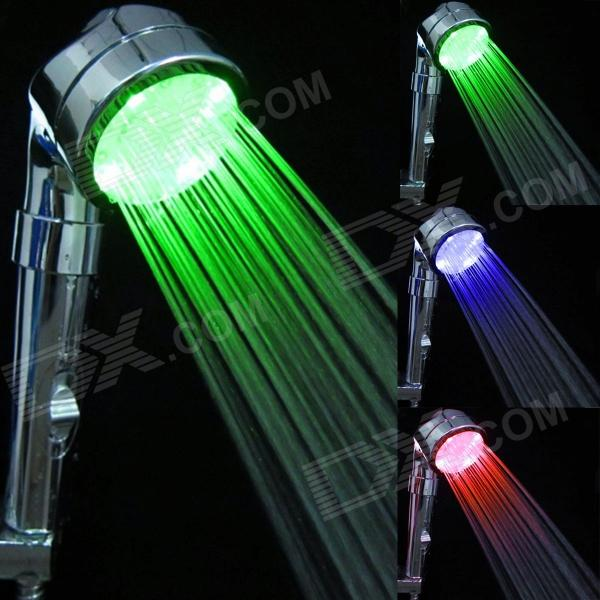 YDL-8008-B23 Anion Temperature Control LED Green / Blue / Red Chrome-plated ABS Shower - Silver