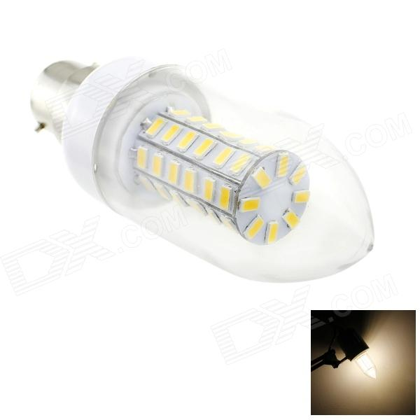 HONSCO B22 6W 550lm 3000K 56-SMD 5730 LED Warm White Light Candle Bulb - White + Silver (AC 220V) honsco e27 5w 400lm 3000k 84 smd 2835 led warm white light bulb white silver ac 85 265v