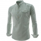 REVERIE UOMO CS35 Fashionable Men's Long Sleeved Cotton Hedging Shirt - Light Green (L)