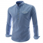 REVERIE UOMO CS35 Fashionable Men's Long Sleeved Cotton Hedging Shirt - Light Blue (L)
