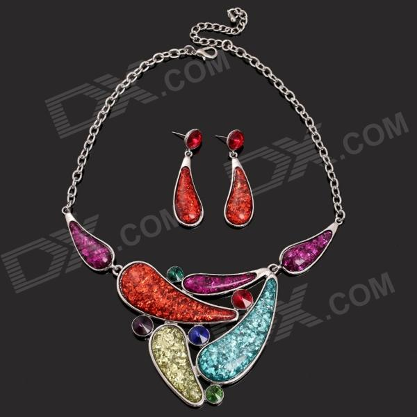 SAPREAL JT1002 Women's Colored Rhinestone Ornament Zinc Alloy Necklace + Earrings Set - Multicolored