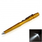 OUMILY Aircraft-Grade Aluminum Alloy Tactical Defense Writing Pen w/ White LED Light - Orange-yellow