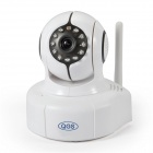 "QGS IPC-012 1/4"" CMOS 1.0MP Indoor IP Camera w/ 11-IR-LED / Wi-Fi / IR-CUT / TF - White (US Plug)"