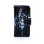 Smoking Monkey Pattern Flip-open PU Leather Case w/ Stand + Card Slot for IPHONE 5/ 5S