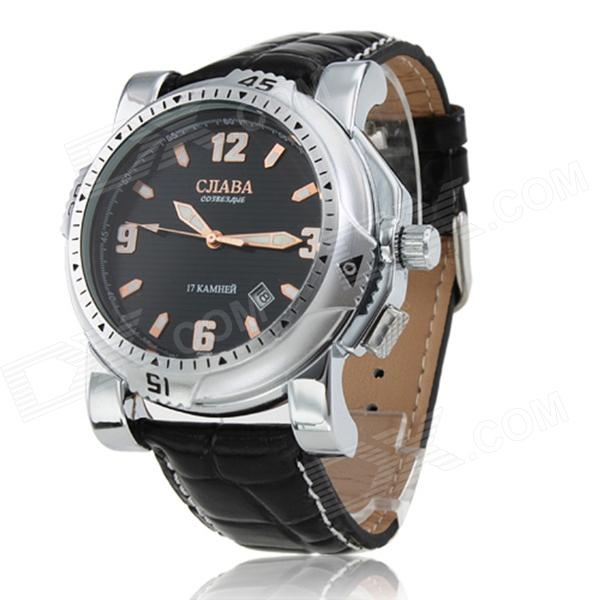 CJIABA Y59 Men's Fashionable PU Band Self-Winding Mechanical Wrist Watch - Black + Silver