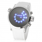 Y60 Unisex Fashionable Silicone Band Blue LED Light Dot Matrix Digital Wrist Watch - White (1 x 377)