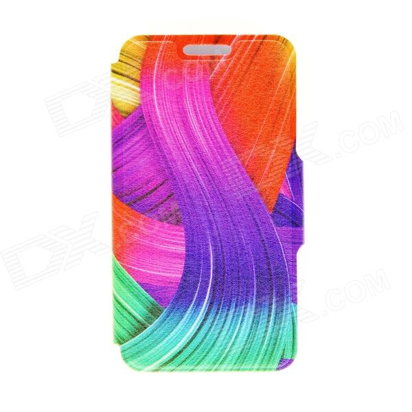 Kinston Color Ribbon Pattern PU Leather Flip Open Case w/ Stand for 4.5'' Google LG Nexus 4 E960