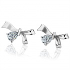 Women`s Stylish Bowknot Style Rhinestone Studded Earrings Ear Studs - Silver